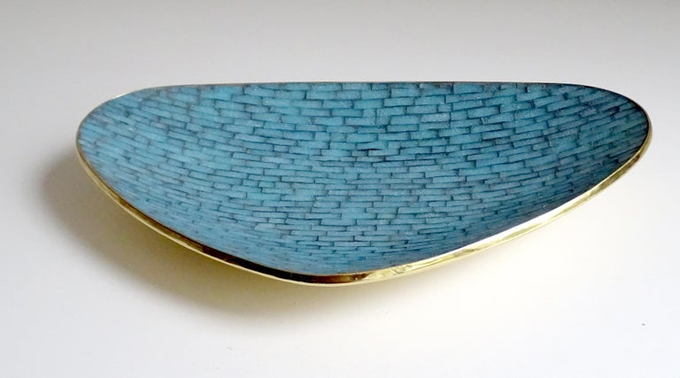 Stunning Large Midcentury Asymmetric Turquoise Enamel Mosaic & Brass Bowl, 1960 7