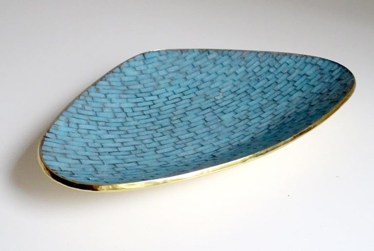 Stunning Large Midcentury Asymmetric Turquoise Enamel Mosaic & Brass Bowl, 1960 For Sale 2