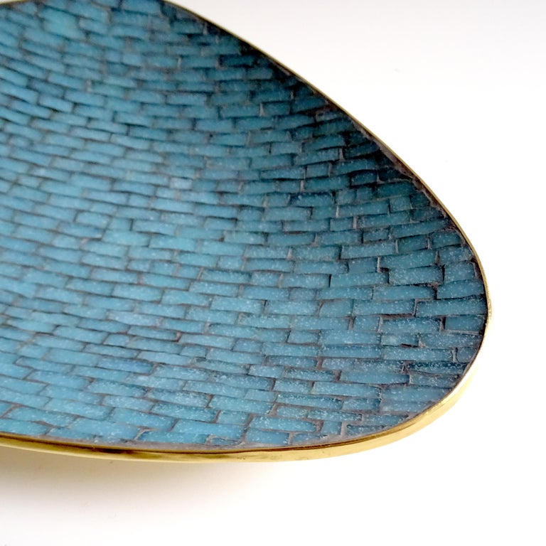 Stunning Large Midcentury Asymmetric Turquoise Enamel Mosaic & Brass Bowl, 1960 For Sale 3