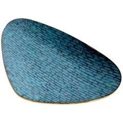 Stunning Large Midcentury Asymmetric Turquoise Enamel Mosaic & Brass Bowl, 1960
