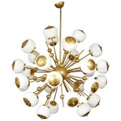 Stunning Large Milk Glass Globe Sputnik Chandelier with Spheres in Brass