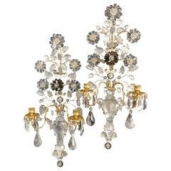Stunning Large Pair Gold Gilt Rock Crystal Tea Smoke Flower Urn Baguès Sconces