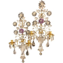 Stunning Large Pair of Gold Gilt Rock Crystal Amethyst Flower Urn Baguès Sconces