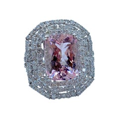 Stunning Large Pink Morganite and Diamond Ring in 18 Karat White Gold