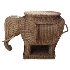 Stunning Large Rattan Wicker Elephant Side Table, France, 1960s