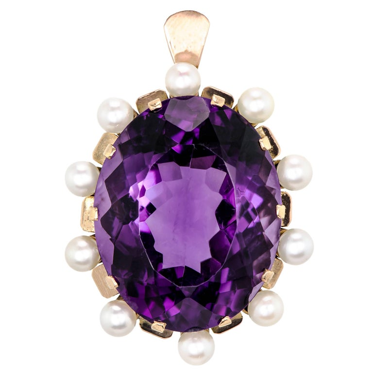 Stunning Large Retro Amethyst and Cultured Pearl 14 Karat Rose Gold Pendant