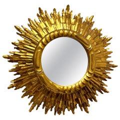 Stunning Large Sunburst Starburst Mirror Gilded Wood, Austria, circa 1950s