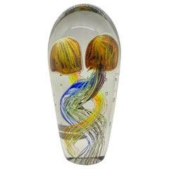 Stunning Large Two Jelly Fish Murano Italian Art Glass Aquarium Rare Showpiece