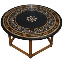 Stunning Large Wide Vintage Pietra Dura Specimen Marble Round Dining Table