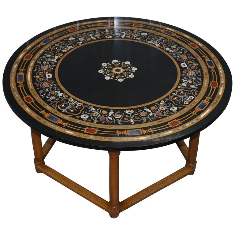 Wide Dining Room Tables: Stunning Large Wide Vintage Pietra Dura Specimen Marble