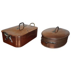 Stunning & Largest Ever Pair of Antique Copper Pans for Wild Roast in Late 1700s