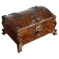 Stunning Late 1800s Bronze & Burl Walnut Jewelry Box, Great Patina, Lock & Key