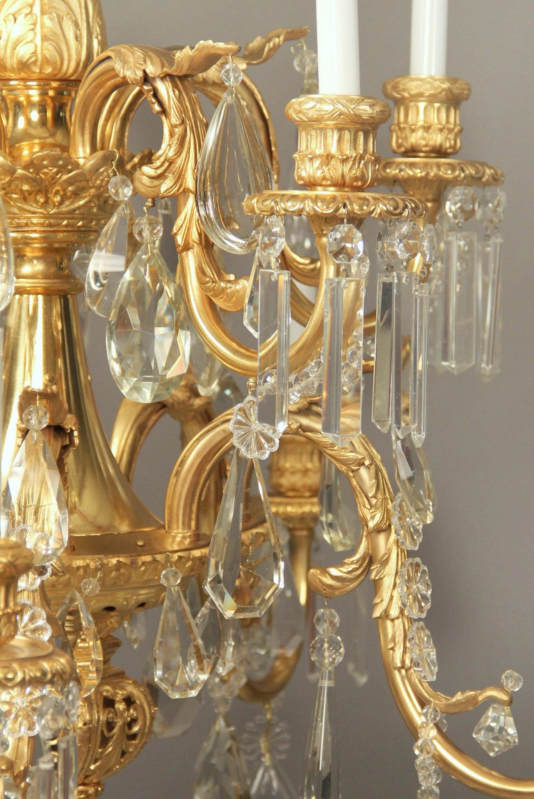 A stunning late 19th century gilt bronze and crystal ten-light chandelier.