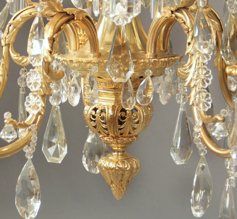 Belle Époque Stunning Late 19th Century Gilt Bronze and Crystal Ten-Light Chandelier For Sale