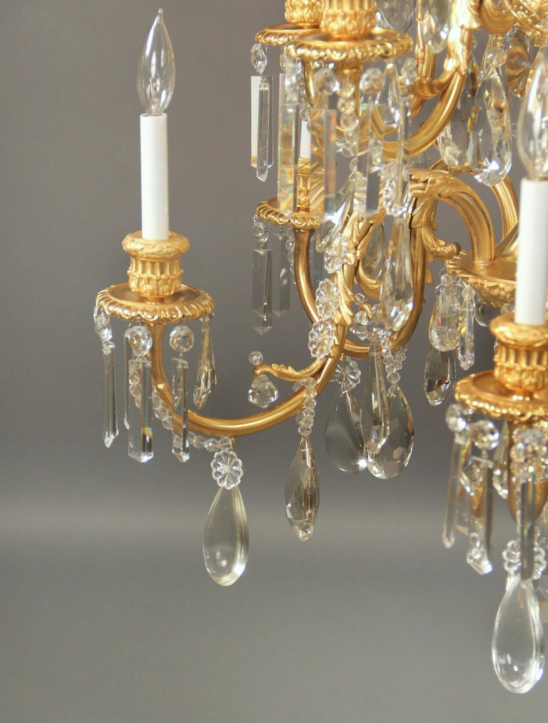 Stunning Late 19th Century Gilt Bronze and Crystal Ten-Light Chandelier In Good Condition For Sale In New York, NY