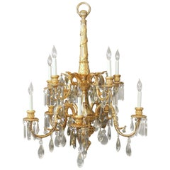 Stunning Late 19th Century Gilt Bronze and Crystal Ten-Light Chandelier