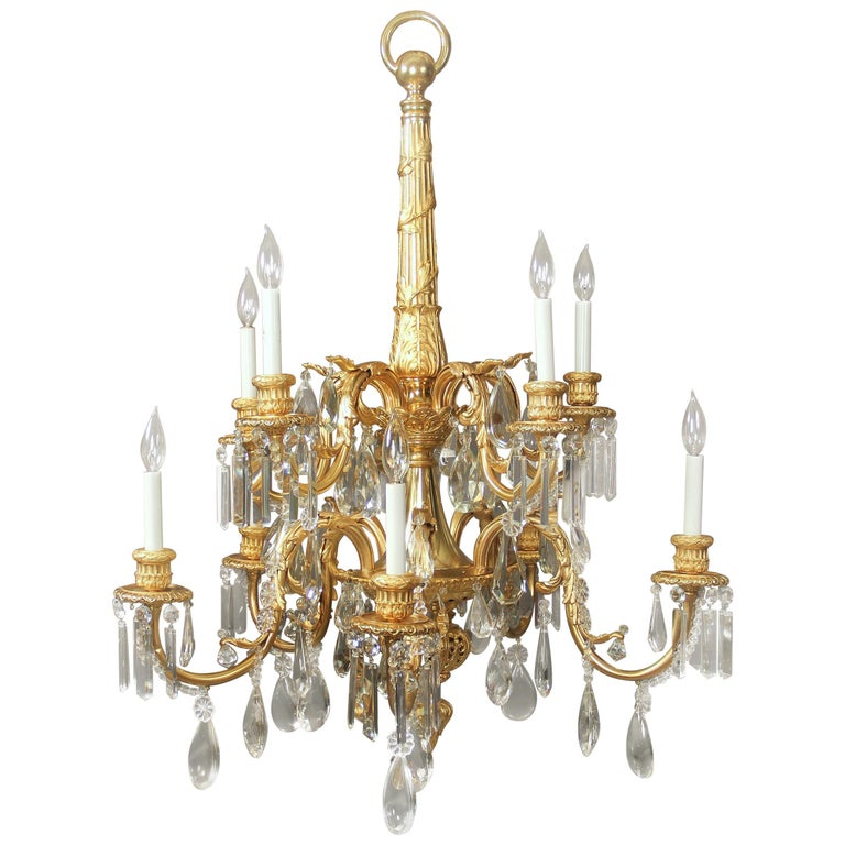 Stunning Late 19th Century Gilt Bronze and Crystal Ten-Light Chandelier For Sale