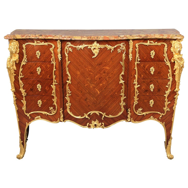 Stunning Late 19th Century Gilt Bronze Mounted Marquetry Cabinet -François Linke For Sale