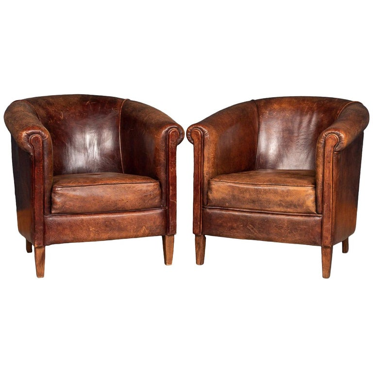Stunning Late 20th Century Dutch Pair Of Sheepskin Tub Armchairs For