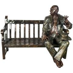 Stunning Life Size Bronze Winston Churchill on a Garden Bench