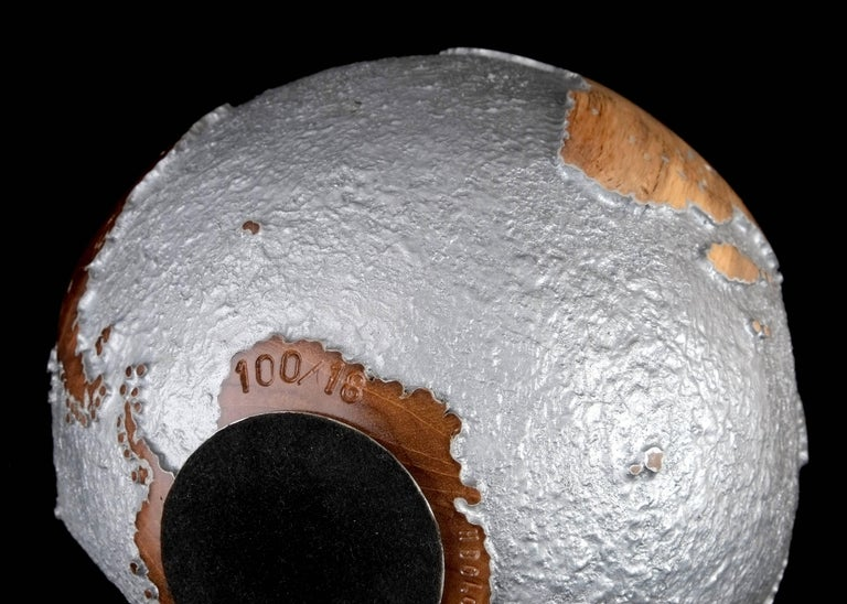 Contemporary HB Globe in Teak Root with Aluminium Finish, 20cm For Sale 4