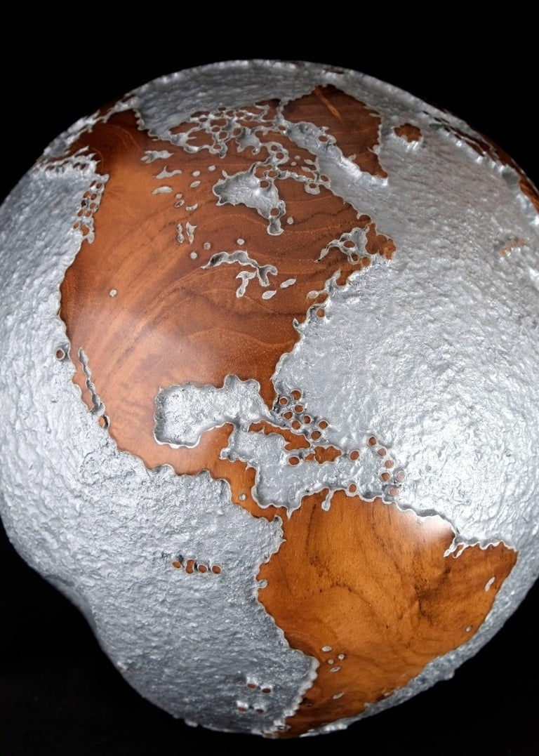 Balinese Contemporary HB Globe in Teak Root with Aluminium Finish, 20cm For Sale
