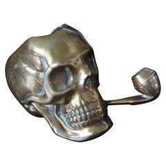 Stunning Little Antique & Handcrafted Pipe Smoking Skull Vesta Case / Match Box