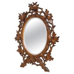 Stunning Little, Finest Quality Hand Carved Antique Black Forest Wall Mirror