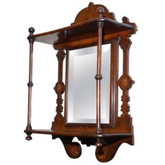 Stunning Little Victorian Shaving Mirror Original Tapered Glass Mahogany Frame
