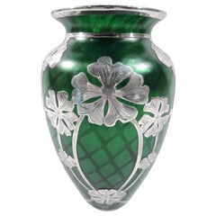 Stunning Loetz Green Quilted Glass Silver Overlay Vase