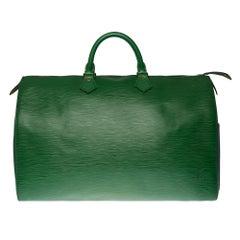 Stunning Louis Vuitton Speedy 40 handbag in green épi leather