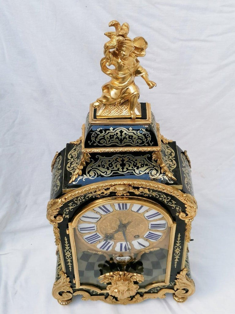 French Stunning Louis XIV Boulle Gilt Bronze Table Clock, France, 19th Century