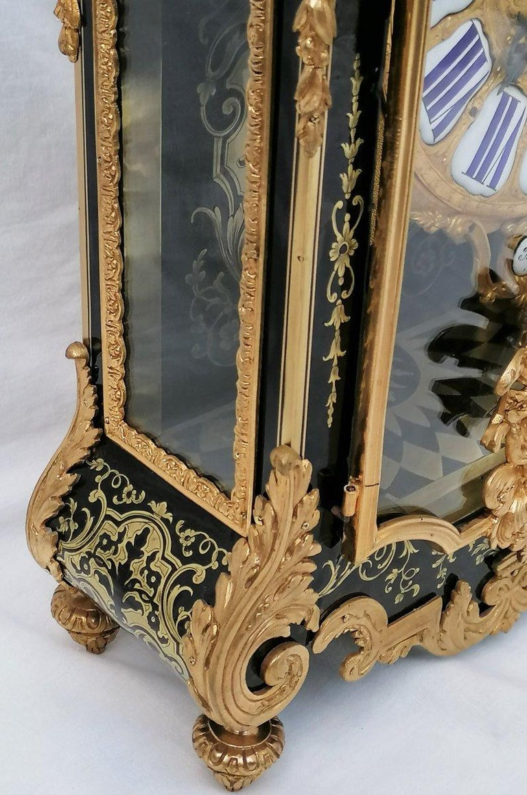 Stunning Louis XIV Boulle Gilt Bronze Table Clock, France, 19th Century In Good Condition In Paris, FR