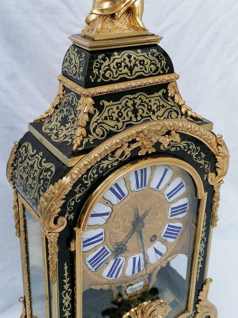 Brass Stunning Louis XIV Boulle Gilt Bronze Table Clock, France, 19th Century