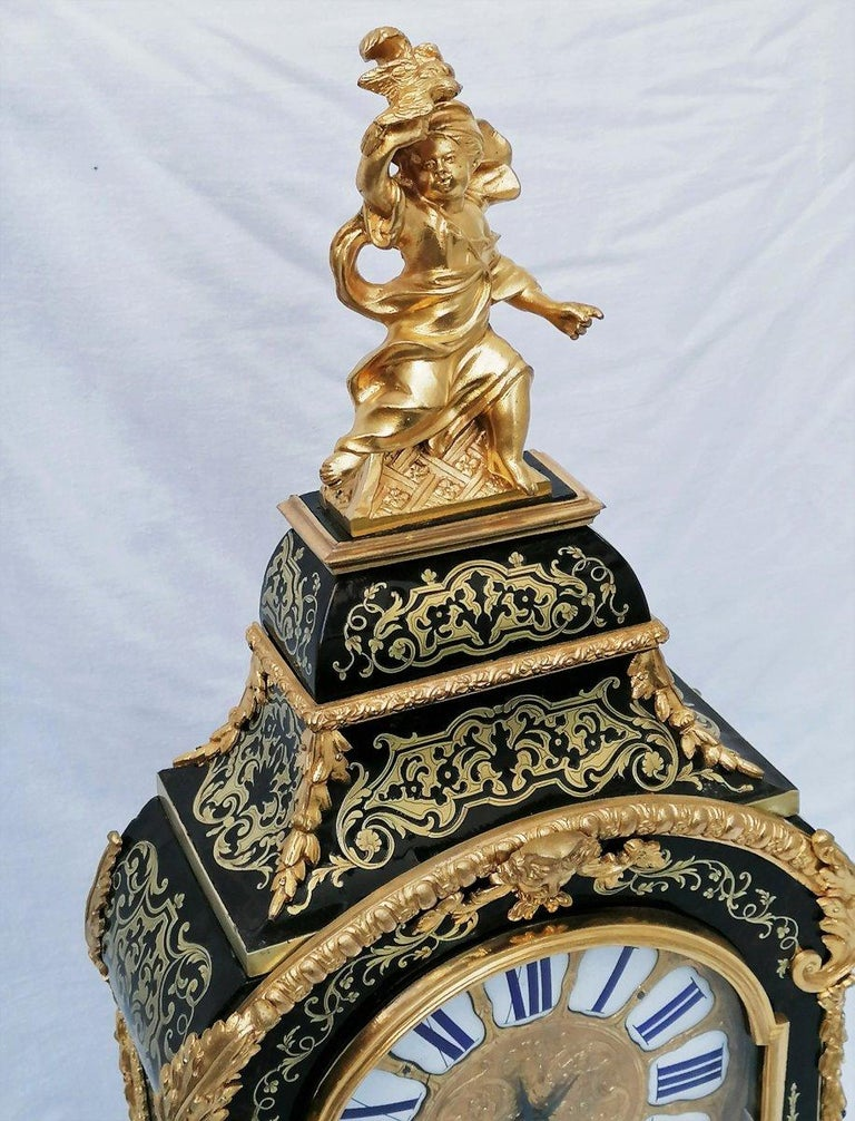 Stunning Louis XIV Boulle Gilt Bronze Table Clock, France, 19th Century 2