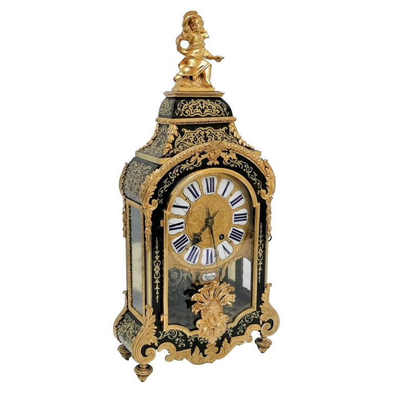 Stunning Louis XIV Boulle Gilt Bronze Table Clock, France, 19th Century
