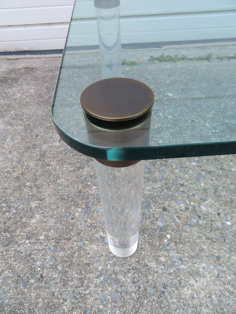 Mid-Century Modern Stunning Lucite Bronze and Glass Cocktail Table, Leon Rosen for Pace For Sale