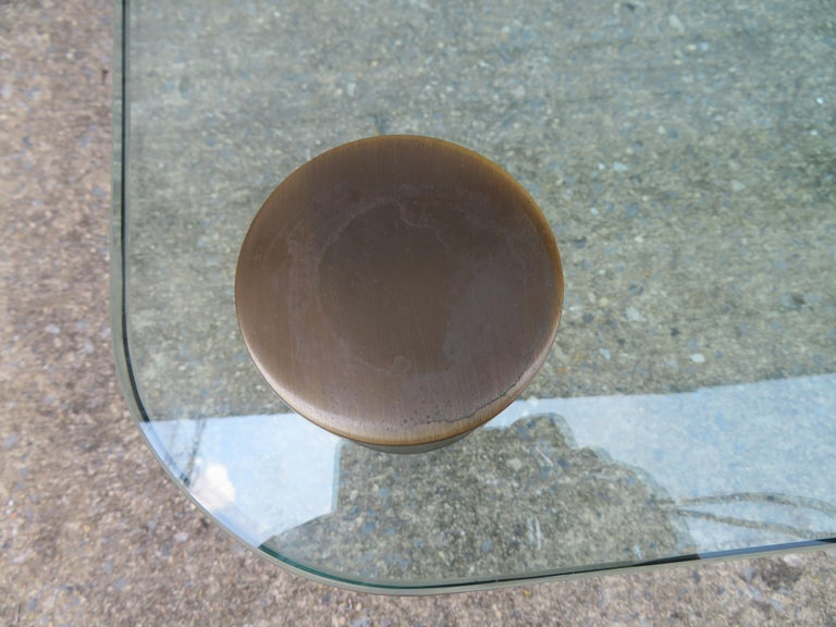 American Stunning Lucite Bronze and Glass Cocktail Table, Leon Rosen for Pace For Sale