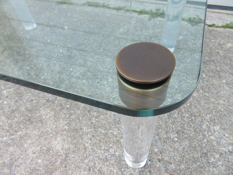Stunning Lucite Bronze and Glass Cocktail Table, Leon Rosen for Pace For Sale 1