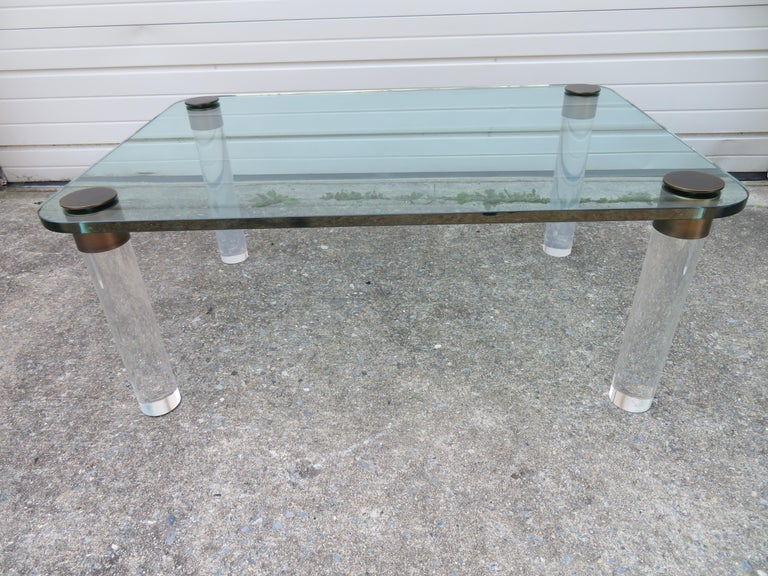 Stunning Lucite Bronze and Glass Cocktail Table, Leon Rosen for Pace For Sale 3