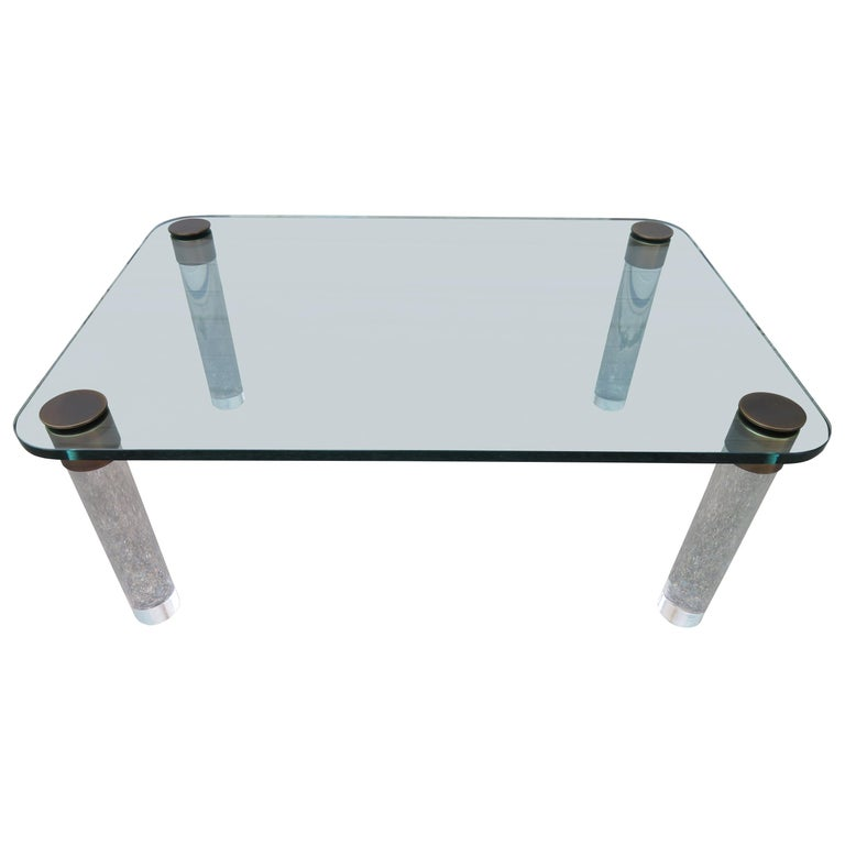 Stunning Lucite Bronze and Glass Cocktail Table, Leon Rosen for Pace For Sale
