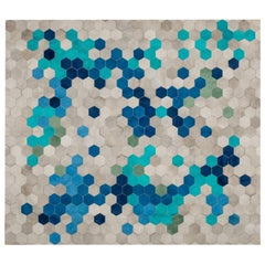 Gray blue & green Customizable Angulo Cowhide Area Floor Rug Small
