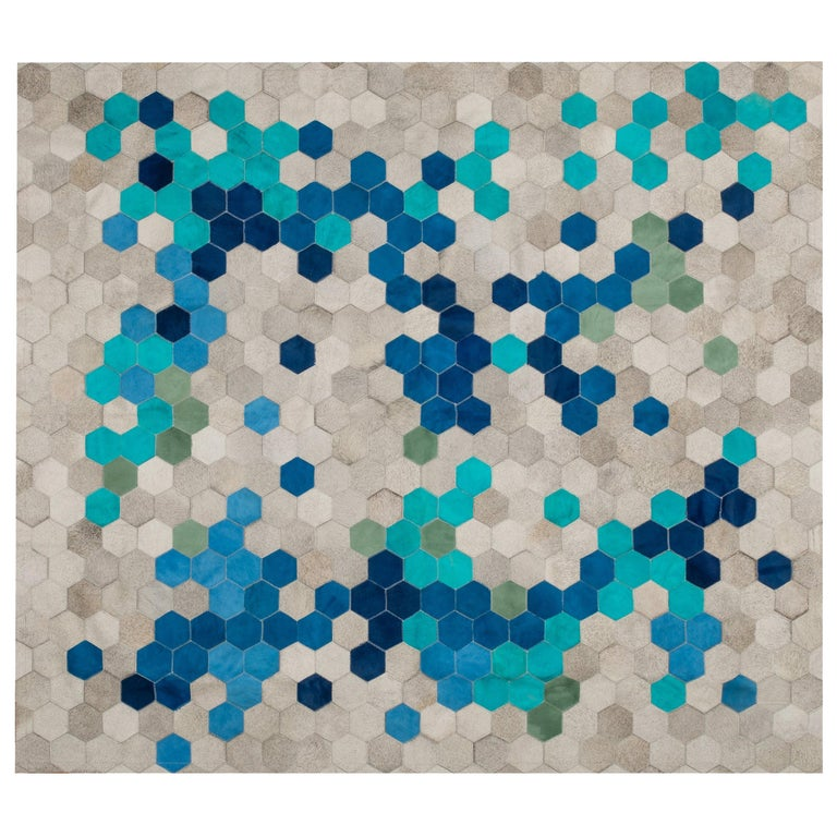 Gray blue & green Customizable Angulo Cowhide Area Floor Rug Small For Sale