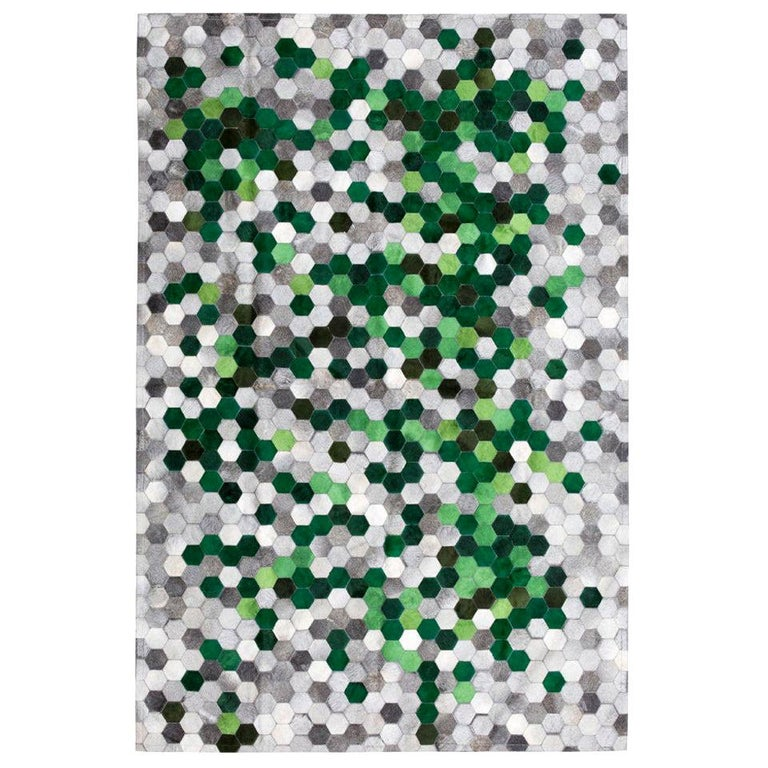 Green and gray Customizable Angulo Cowhide Area Floor Rug For Sale