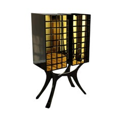 """Stunning Luxury """"Carlton"""" Contemporary Modern Gold Cabinet and Mirrored Dry Bar"""