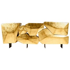 Stunning and Luxury Gilt Modern Contemporary Sideboard in Iron Wood & Gold Leaf