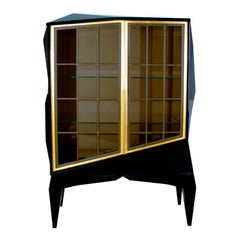 """Stunning Luxury """"Mozart"""" Contemporary Modern Gold & Black Lacquered Wood Cabinet"""