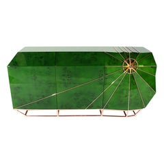 """Stunning Luxury """"Navigator"""" Contemporary Modern Lacquered Sideboard Green & Gold"""