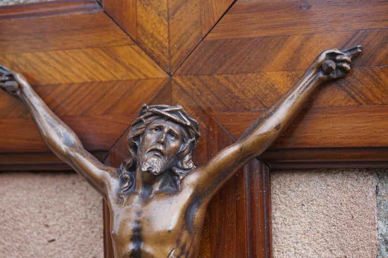 Stunning Mahogany & Kingwood Inlaid Crucifix with a Bronzed Corpus of Christ For Sale 5