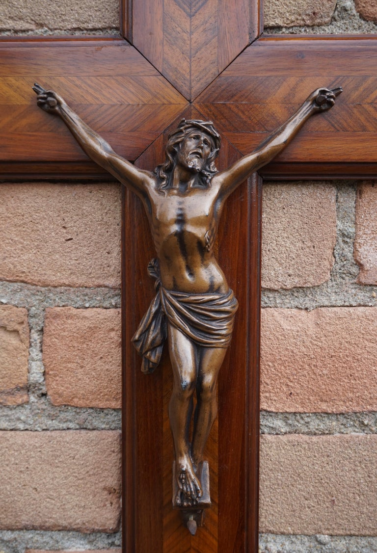 Stunning Mahogany & Kingwood Inlaid Crucifix with a Bronzed Corpus of Christ For Sale 7